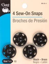 Dritz 80-21-1 Sew-On Snaps Size 10 4-Count Black