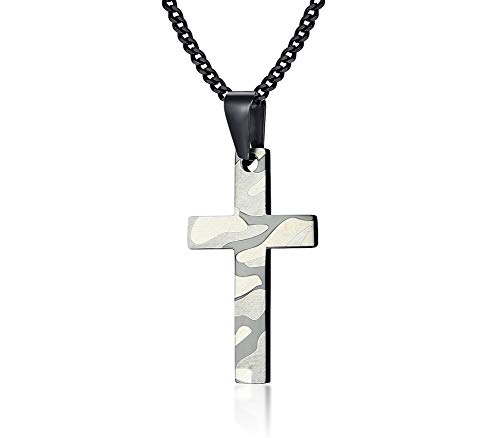 MPRAINBOW Custom Stainless Steel Soldier Camouflage Cross Necklace Pendent Army Special Forces Necklace Pendent -