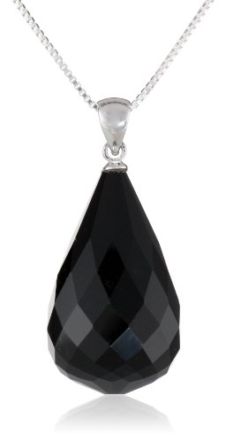 Sterling Silver Faceted Black Onyx  Large Teardrop Briolette Pendant with Chain Necklace, 18
