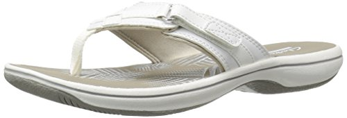 Clarks Women's Breeze Sea Flip Flop, New White Synthetic, 7 B(M) US