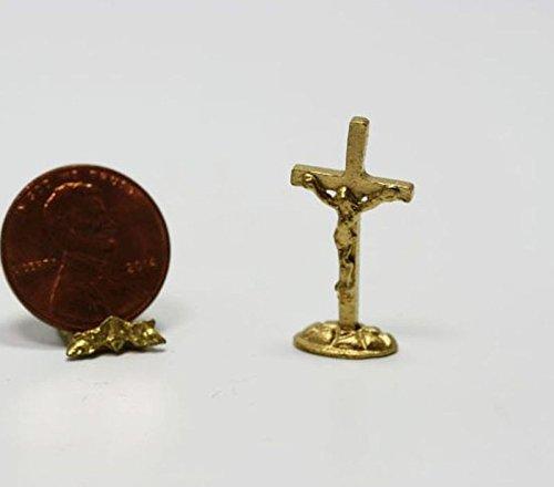 Dollhouse Miniature Gold Crucifix by Multi Minis (Miniature Crucifix)