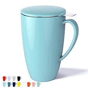 Sweese 201.102 Porcelain Tea Mug with Infuser and Lid, 15 OZ, Turquoise 13