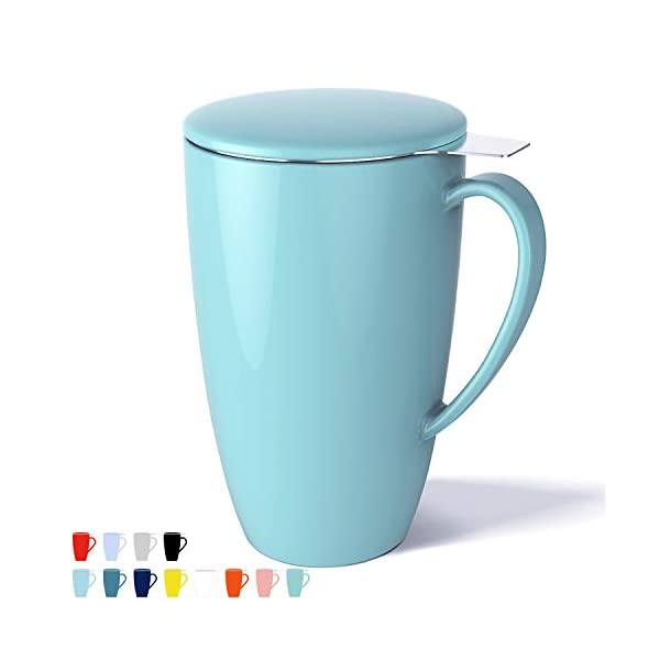 Sweese 201.102 Porcelain Tea Mug with Infuser and Lid, 15 OZ, Turquoise 1