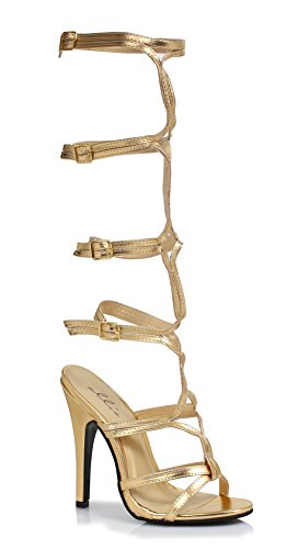 Ellie 510-sexy Dames Sexy Comfortabele 5-laags Knielende Band Up Sandalen Goud