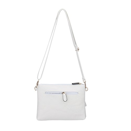 Women Pocket PU White Small Purses Crossbody Functional Leather JIARUO Mini Multi Bag Zipper wZRYaIq