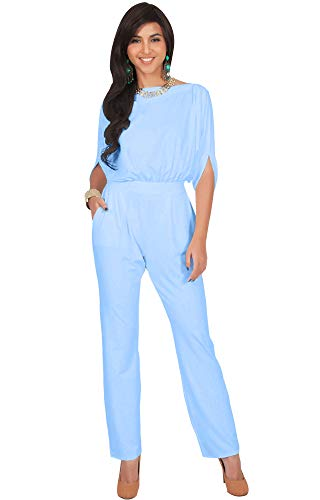 KOH KOH Womens Short Sleeve Sexy Formal Cocktail Casual Cute Long Pants One Piece Fall Pockets Dressy Jumpsuit Romper Long Leg Pant Suit Suits Outfit Playsuit, Baby Light Blue M 8-10