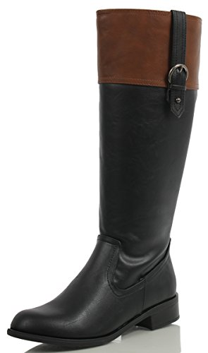 SODA Womens Visa Two Tone Harness Riding Boots,Black//Tan,7