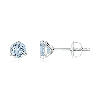 Angara Princess Enhanced Blue Diamond Three Stone Stud Earrings(3mm) BeZnaWia