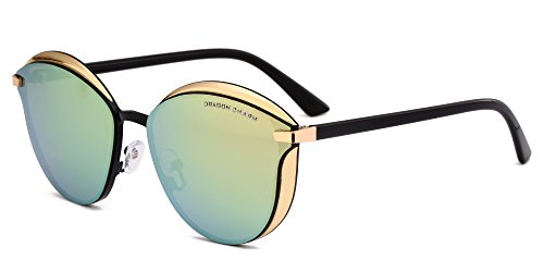 DRAGON CHARM Fashion Cat Eye Sunglasses for Women Color Mirrored Retro Stylish Pink Reflective Lens Golden Frame