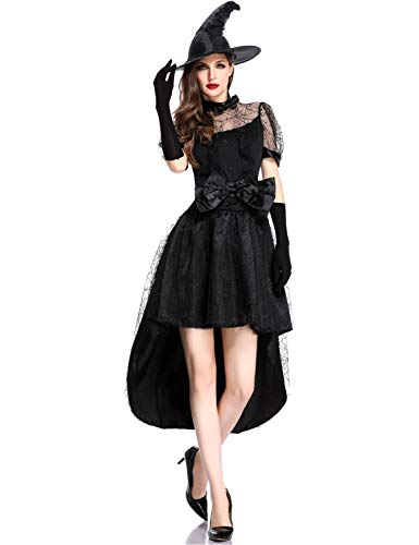 Halloween Classic Witch Costumes for Women Bowtie Evil Sorceress Dress with Hat