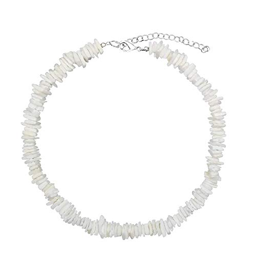 Surfer Necklace White - JYH Puka Chip Shell Necklace Choker Men Women - Hawaiian Summer Genuine Clam Natural Wakiki Beach White Surfer Puka Shell Necklace Choker Boys Girls Adjustable