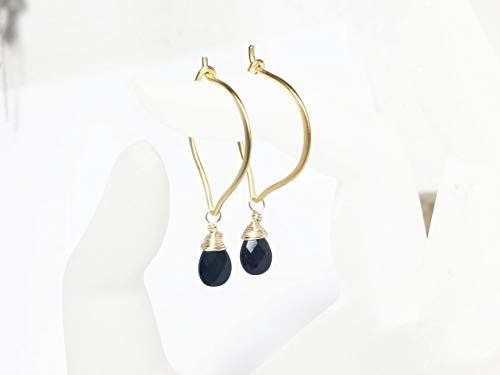 - Black Spinel Hoop Ear Wires, Gold Vermeil Lotus Earrings Gemstone Briolettes