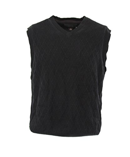 Tasso Elba Men's Textured Sweater Vest-Deep Black-L