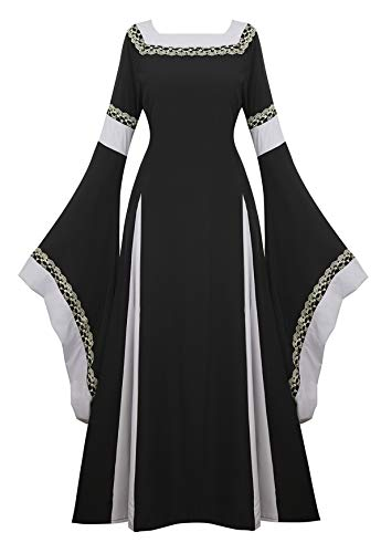 Famajia Womens Medieval Renaissance Costume Cosplay Victorian Vintage Retro Gown Long Dress Black Small]()