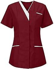 Msaikric Scrubs Tops Women Petite Nurse Top Plain Medical Uniform Nursing Shirt Short Sleeve V-Neck Uniforme Medical Femme