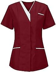 Msaikric Scrubs Tops Women Nurse Top Plain Work Uniform T-Shirt Medical Uniform Short Sleeve V-Neck Color Bloc