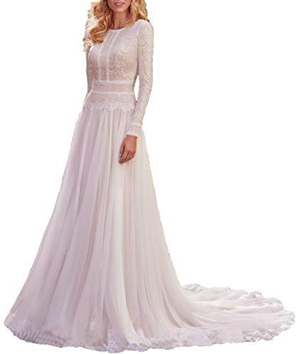 Asoiree Women's Lace Appliques Wedding Jewel Neck Formal Evening Long Sleeves Prom Dress Chapel-Train Ivory