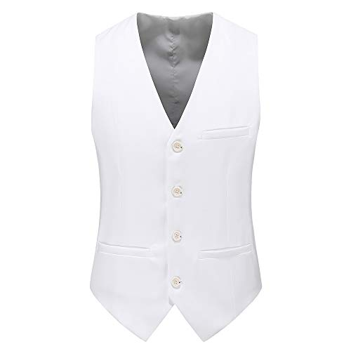 UNINUKOO Mens Slim Fit Four Button Tuxedo Waistcoat