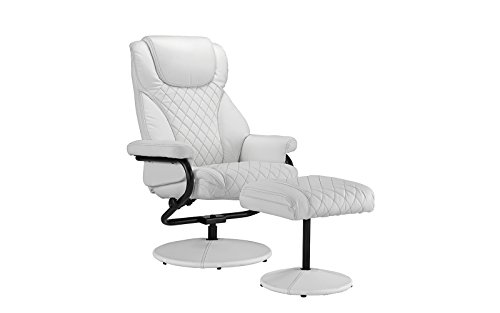 DIVANO ROMA FURNITURE Office Swivel Chair with Footstool, Faux Leather Reclining Executive and Gaming Chairs (White)