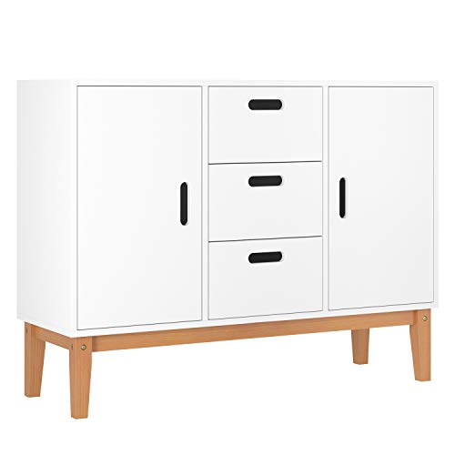 HOMECHO Floor Buffet Sideboard Storage Cabinet Freestanding Console Table Cupboard Chest 2 Door, 3 Drawers and 2 Inside Adjustment Shelf for Hallway, Living Room and Kitchen White Color HMC-MD-004