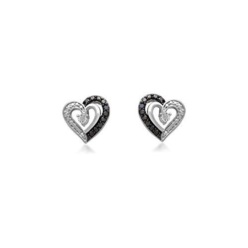 Jewelili Sterling Silver Black and White Diamond Accent Heart Earrings Black Heart Earrings