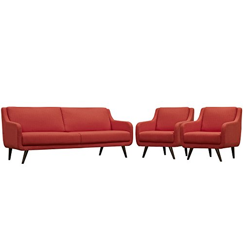 Modway Verve Fabric Upholstered Mid-Century Modern Sofa and Two Armchair Set in Atomic Red (Mid Modern Vintage Century Furniture)