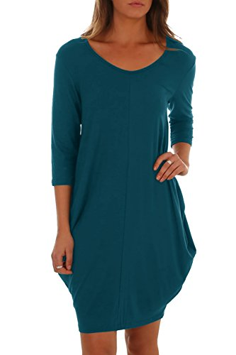 Saikesigirl Womens Casual Midi Dress 3/4 Sleeve Bubble Hem Cotton Autumn Dresses with Pocket
