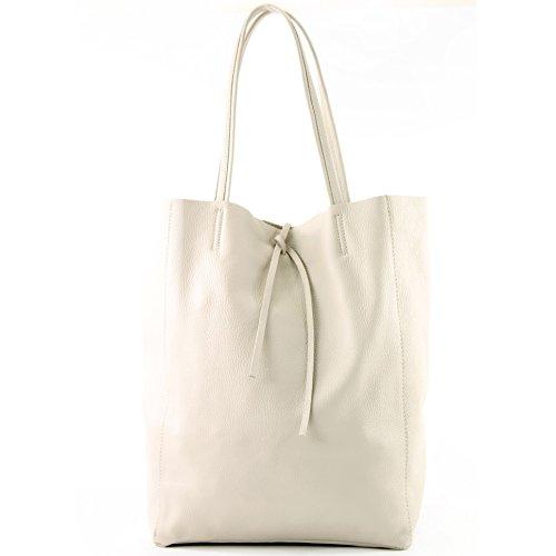 Shoulder Ital Shopper Modamoda De T163 Large Leather Ladies cream Color Bag x0HxBPTwUq
