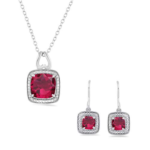 (Jewelili Sterling Silver 8mm and 5mm Cushion Cut Created Ruby Halo Pendant Necklace and Earrings Jewelry Set - New)