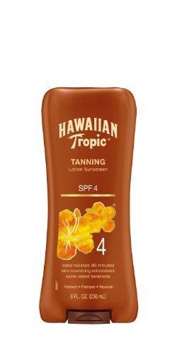 Hawaiian Tropic Sun Tanning Sunscreen Lotion - SPF 4, 8-Fluid Ounce (Pack of 2)
