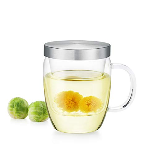 Samadoyo 500ml (16.9oz) Borosilicate Glass Tea Mug with Infuser and Stainless Steel Lid