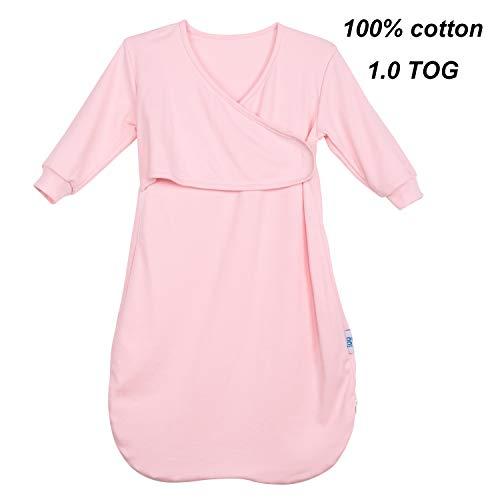 Baby Long Sleeve Sleep Sack for Spring Autumn,100% Cotton Wearable Blanket Baby Sleeping Bag, Sleepwear(Pink S: 5-12M)