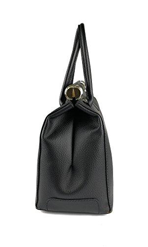 Zerimar Sacchetto di spalla in pelle per le donne Borsa a tracolla grande in pelle mórbida Nero
