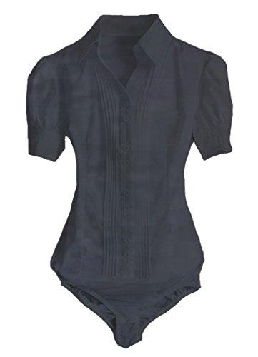 Stile Della Giù Della Nera Camicetta Maniche Camicia Donna Pulsante Soojun Carriera Tuta 1 Corte Della q7gx1w4