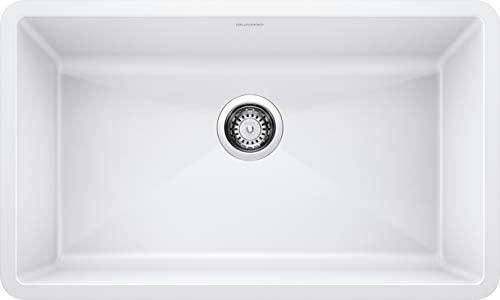 BLANCO, White 440150 PRECIS SILGRANIT Super Single Undermount Kitchen Sink, 32 X 19