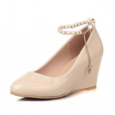 RUGAI-UE Moda de Verano Mujer sandalias casuales zapatos de tacones PU Confort caminar al aire libre,Negro,US7.5 / UE38 / UK5.5 / CN38 Beige