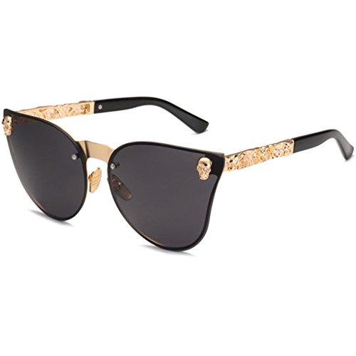 siwetg Skull Women Cat Eye Sunglasses Vintage Oversized Rimless Mirror Cateye Eyewear