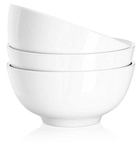 DOWAN 29 Ounce Porcelain Soup Bowls - 3 Packs, Stackable Round, White by DOWAN