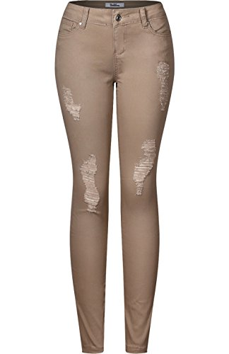 2LUV Women's Stretchy 5 Pocket Skinny Distressed Jeans Khaki 7