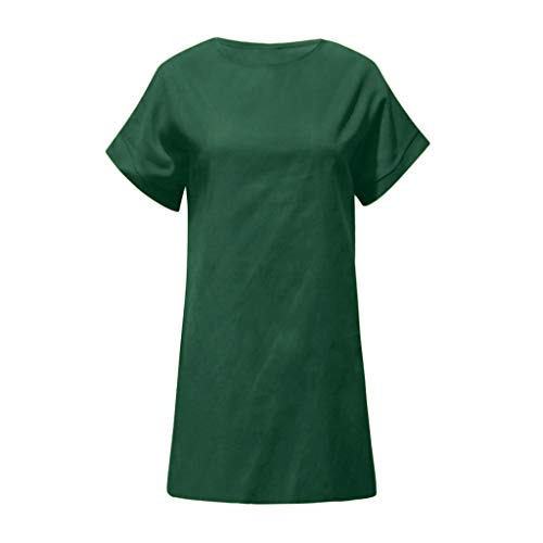 Linen Dress Comfortable and Breathable Sales NRUTUP Women Summer Casual Solid Comfy Dress O-Neck Short Sleeve Midi Dress