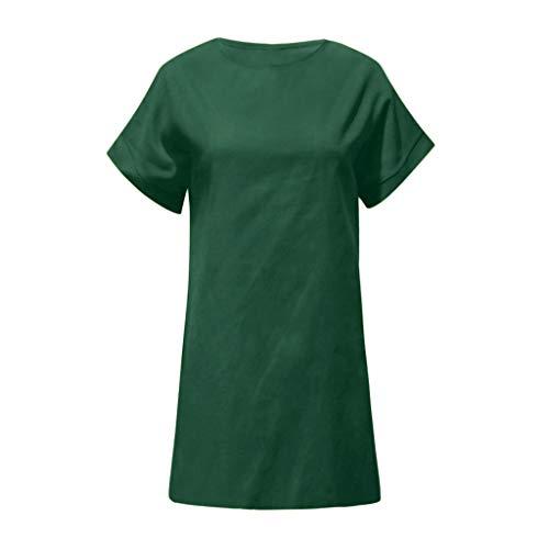 NEARTIMEShort Sleeve Dress-Women's Summer Solid Color Blouse Casual Crew Neck Cotton Linen Straight Dress