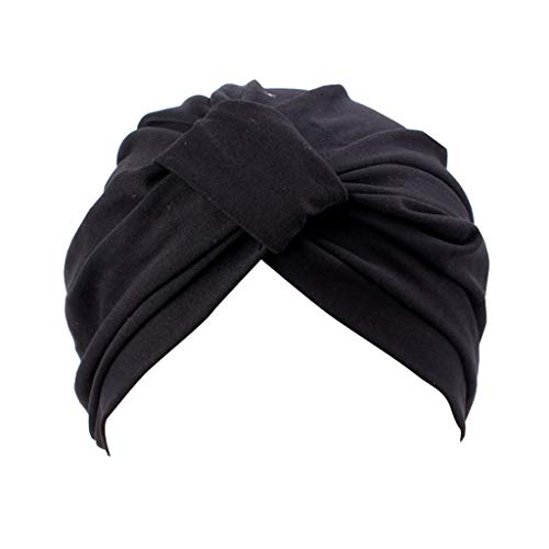 residentD Women Elastic India Afric Muslim Turban Cap Big Satin Solid Stretchy Hat (Black) (Best Chinese Products To Sell In India)