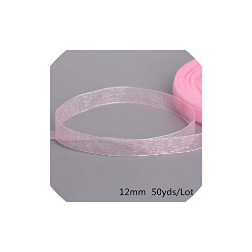 - 12mm 50yard Ribbon for Wrapping Christmas Party Home DIY Gift Packaging Wedding Decoration Tapes Ribbons,Pink