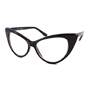 VINTAGE Women Sexy Cat Eye Oversized Frame Clear Lens Eye Glasses BLACK