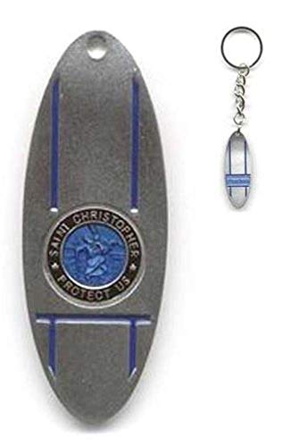 St. Christopher Surfboard KeyChain - Select Color (Mini, Blue/Black)