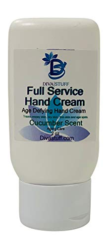 Full Service Age Defying Hand Cream, For Crepey Skin, Age Spots, Thinning Skin and Dry Skin, Cucumber Scent By Diva Stuff