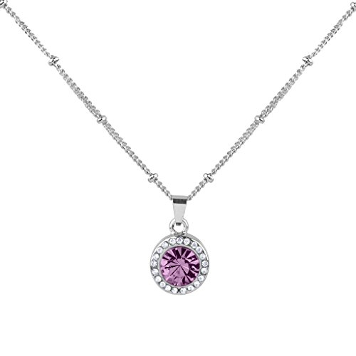 - Lux Accessories Light Synthetic Amethyst June Birthstone Pendant Disc Pave Charm Pendant Necklace Birthday Stone