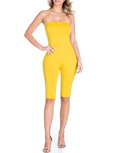 BEYONDFAB Women's Bikers Short Pants Tube Jumpsuit One Piece Short Catsuit Yellow S