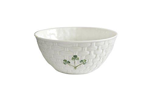 "Belleek Pottery Shamrock Bowl, 6"", Green/White"