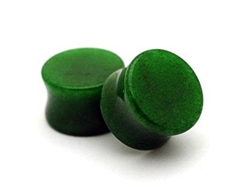 1/2 Inch Stone (Pair of Green Jade Stone Plugs - 1/2